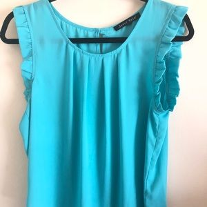 Turquoise flowy tank top
